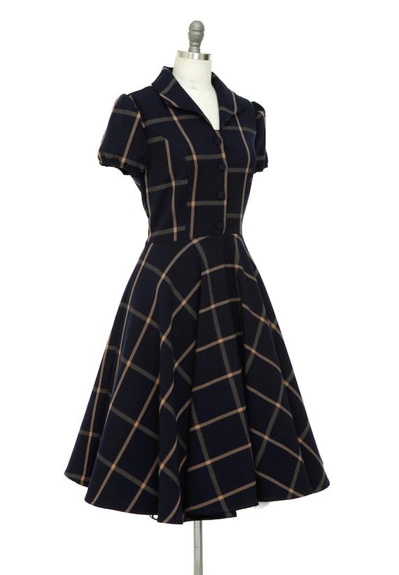 Christmas Dress Navy Tartan Dress Vintage Inspired Dress