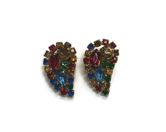 Signed Weiss Multicolor Rhinestone Earrings, Vintage 1950s Clip Earrings, Costume Jewelry