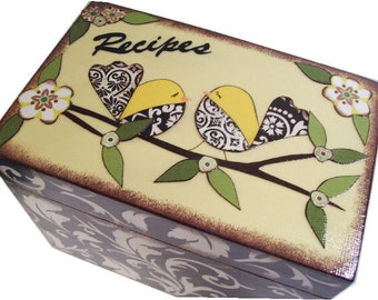 Recipe Box Decoupaged This Black and Yellow Bird Box is Large and Handcrafted Holds 4x6 Recipe Cards  MADE To ORDER
