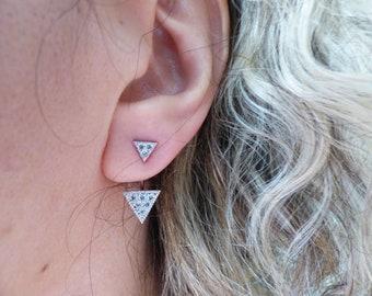 Cubic Zirconia Triangle Ear Jacket Silver Dainty Stud Earrings, Double Sided Crystal Back And Front Earrings, Delicate Diamond Earrings