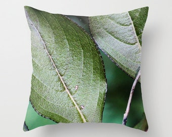 Green Leaves, Pillow Cover, 6 sizes, 4 fabrics, home decoration, Bush, macro photo, green, botanical decor, tropical leaves, interior design