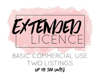 Extended License for Commercial Use. TWO listings. (This is an add on, please purchase with graphics)