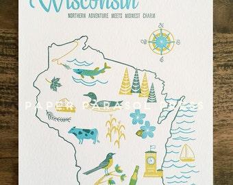 Wisconsin State Letterpress Print 8x10