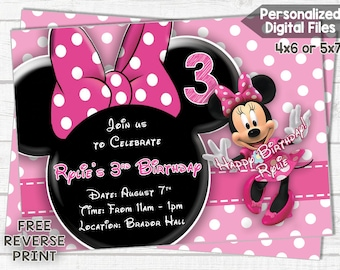 Minnie Mouse Invitation - Birthday Invitation - Minnie Mouse - Pink Polkadots - Personalized Birthday Invitation - DIGITAL FILE