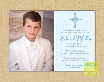 Boy First Communion Invitations, Boys First Communion Invitations, Blue First Holy Communion Invitations, Communion invitations for Boys