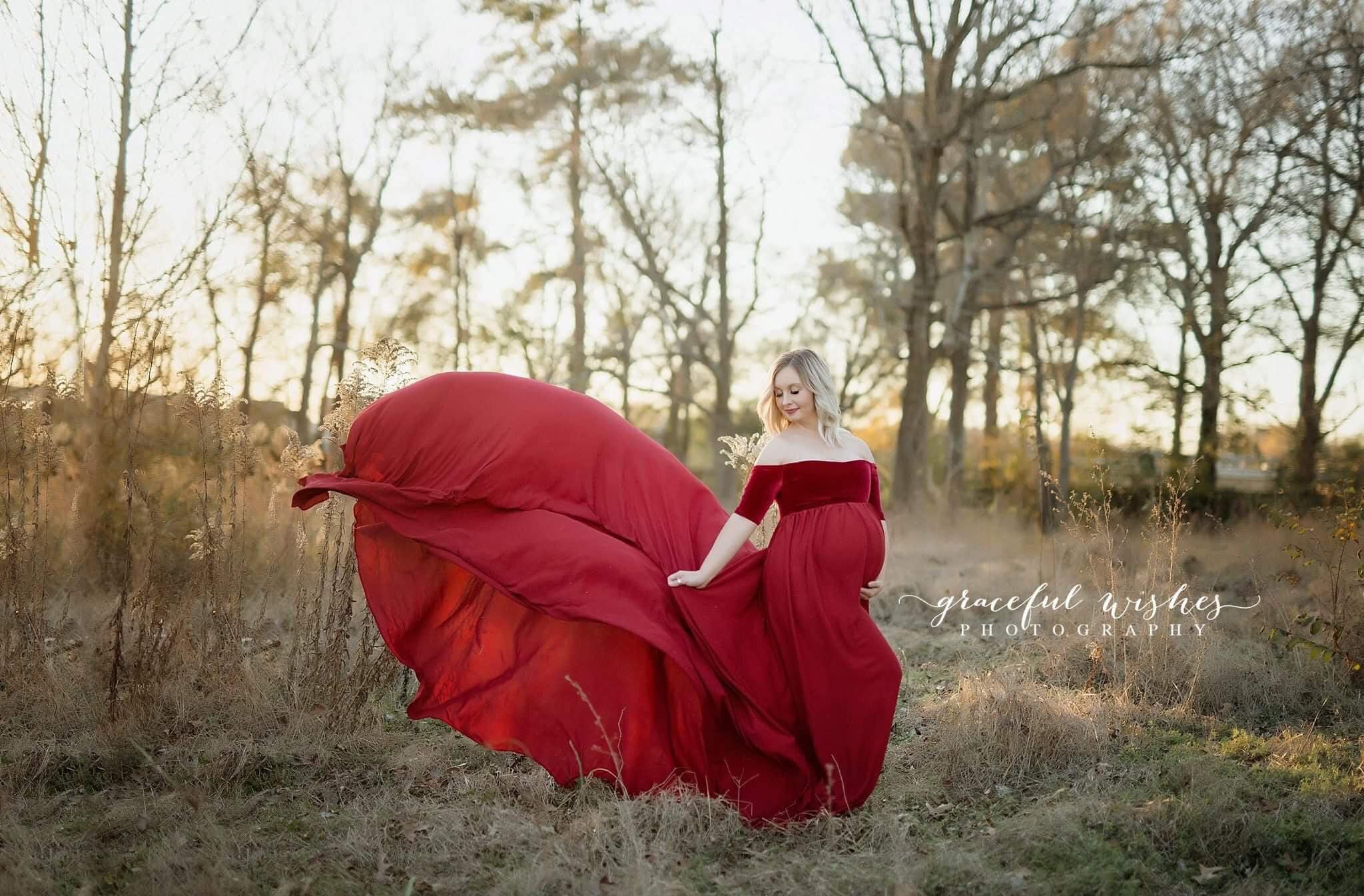Burgundy Chiffon-Velvet Extra long Maternity Gown Maternity