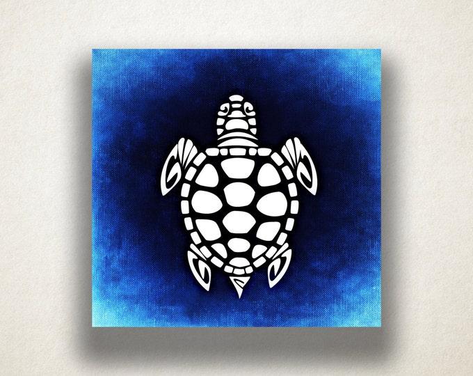 Blue Sea Turtle Canvas Art Print, Oceanlife Wall Art, Animal Canvas Print, Artistic Wall Art, Canvas Art, Canvas Print, Home Art, Wall Art
