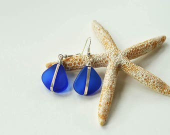 Blue sea glass earrings cobalt blue sea glass jewelry wire wrapped jewelry wire wrapped earrings eco friendly recycled glass earrings gift