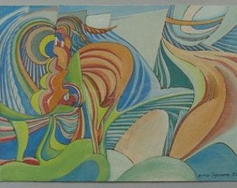 pino Sguero, 1931-, Abstract gouache, , Italian, Modern