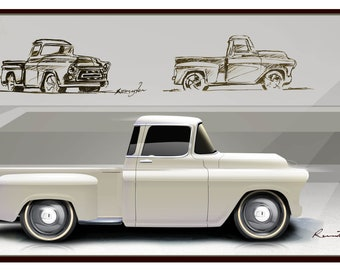Classic Trucks/cars 57' Chevy Chevrolet Pick-up Truck Gifts Men Mancave Art Drawing Vintage