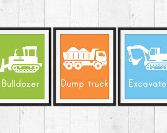 Construction art prints, trucks art,  boys wall art, Kids Decor, Kids Wall Art, Baby art, Nursery prints, construction wall decor