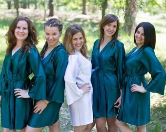 Solid Dark Teal Satin Silk Bridesmaids robes | Kimono Style getting ready robes, wedding day robes, Bridesmaids gifts, Bridesmaid Robes