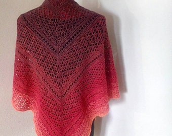 crochet shawl wrap in dark red, medium red, light red, orange, reversable, lacey, gift for her, Ready to Ship