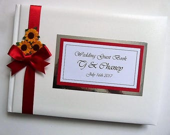Personalised Wedding Guest Book with flowers (sunflowers) - ANY COLOUR