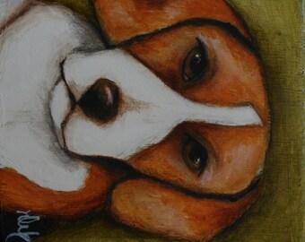 "Dog Beagle original art painting on wood 3"" x 3"" Deb Harvey"