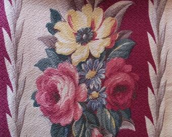Vintage Cottage Garden Cabbage Roses Floral Glencourt Nubby Bark Cloth Barkcloth Fabric