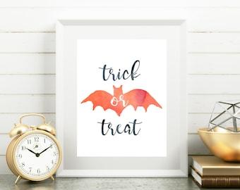 Trick or Treat Print, Halloween Printable, Trick or Treat Sign, Halloween Sign, Halloween Entry Print, Halloween Wall Art