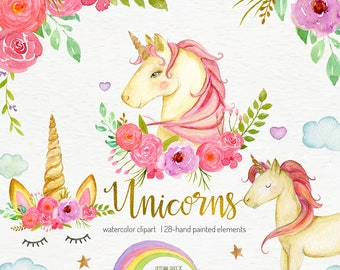 Watercolor unicorn clipart, unicorns clip art, unicorn party, instant download nursery decor unicorn face png files Woodland Animals magical