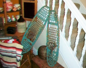 Antique Turquoise Snowshoes Wood and Leather Rustic Decor