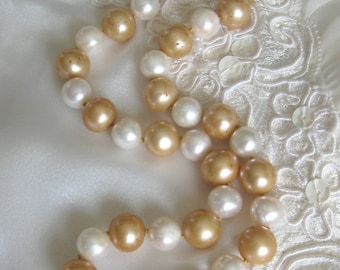 SALE Golden and White Cultured Pearl Necklace,Baroque Pearl Choker,Large Pearls, Classic Pearls,Unique Pearl Jewelry,Statement Necklace,9169