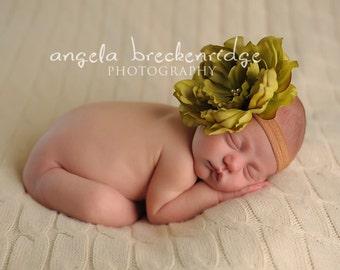 vintage green flower headband, newborn headband, baby headbands, Photography props