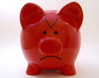 Angry Emoticon Piggy Bank  - The Original Emoti-Pig - Teen Gift - Personalized Piggy Bank - Grumpy Pig Bank - with hole or NO hole in bottom
