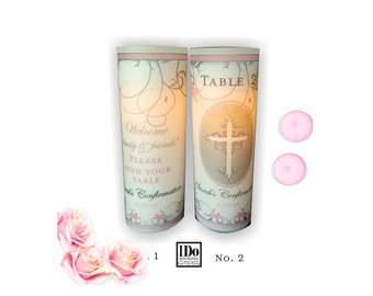 Luminary - Luminary Table Numbers - Centerpiece Luminaries for Baptisms - Confirmations - First Communion  - Unity Candle Wrap - 10 Luminary