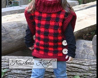 Crochet Pattern Pullover - Playful Plaid Pullover/ Pattern #97. Instant PDF Download - Includes 12 sizes from 1 year to adult 3xlarge.