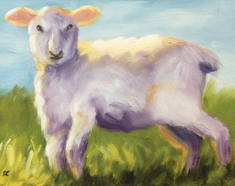 Lamb Painting - Oil on Board