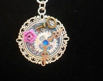 Pretty in pink Steam punk  pendant