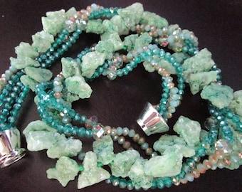 Stunning Green Druzy Agate & Crystal Torsade Necklace