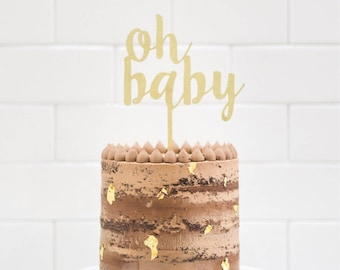 Wood 'oh baby' Cake Topper for Gender Reveal, Baby Shower and Special Event.