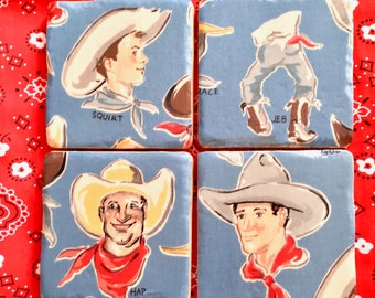Cowboy  Coaster Set - At Home on the Range or a Western Ranch