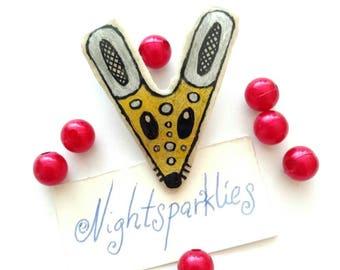polymer clay brooch, tribal ethnic brooch, mouse brooch, handmade art brooch, clay art brooch, glossy brooch, handmade wearable art jewelry