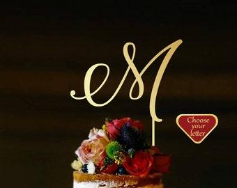 Cake Topper Wedding, Letter m Cake Topper, Personalized Cake Topper, Wood Monogram Cake Topper, Rustic Cake Topper, m cake topper, CT#271