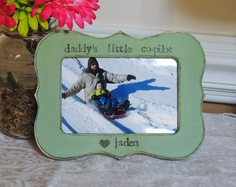 Daddy little Co-pilot frame Fathers day gift dad papa daddy apa Personalized photo picture frame son daughter father groom wedding gift