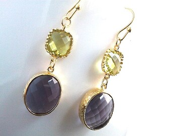 Vintage Cool Purple and Green Drop EarringsBridesmaid Gift Wedding Jewelry Bridesmaid Jewelry Bridal Jewelry Purple Glass Dangle Earrings