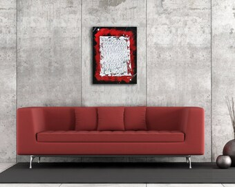 Abstract Original Painting Acrylic on 1.5 Gallery Wrap Canvas 18 x 24 Red Graffiti Industrial Street Art Style