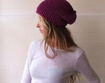 pink beanie hat,  pink hat, purple hat, , chunkier hat, vegan friendly