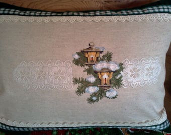 Christmas Lanterns with Lace.  Machine Cross Stitch embroidery design.