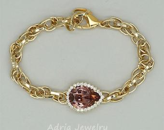 Swarovski Bracelet,Blush Pink Bracelet, Gold Bracelet, Vintage Style Bracelet, Rhinestone Bracelet, Blush Rose Swarovski Rhinestone Jewelry