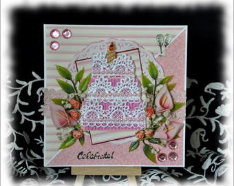Cake Happy Anniversary Handmade Card celebrate lace pink lilies