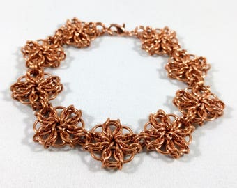 Copper Chainmaille Flower Bracelet