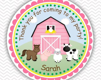 Barn Yard Farm Animals Pink - Personalized Stickers, Party Favor Tags, Thank You Tags, Gift Tags, Address labels, Birthday, Baby Shower