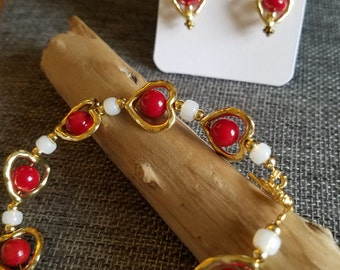 Red coral & gold set