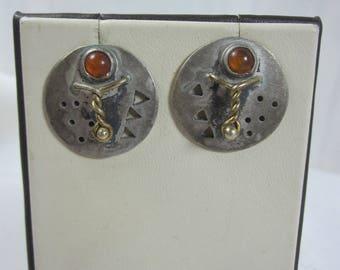 Industrial Look Sterling and Amber Post Earrings