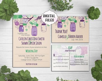 DIGITAL, Purple Green Wedding Invitation, Mason jars, Printable, wedding invite, Printable Digital file, Wedding Invitation, rustic, mauve