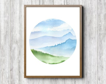 Watercolor Landscape Nursery / Office Printable Wall Art - Circle Art Poster - Mountains & Clouds Print- Nature Wall Decor -Instant Download