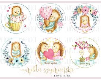 Sweet watercolour hedgehog, Valentines digital collage sheet, Instant download, Romantic love digital stamp, tags, labels