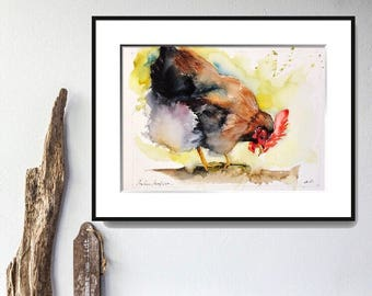 "Original watercolor painting-""Portrait of a hen"" free shipping (watercolor painting hen rooster chicken Barnyard bird poultry)"